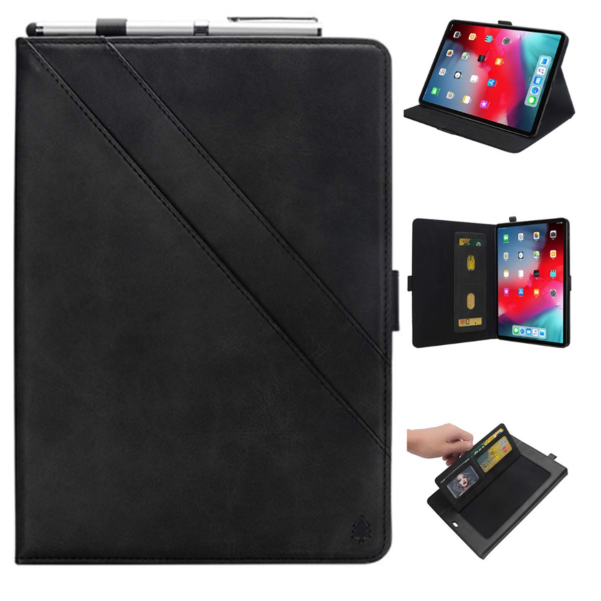 KATEGY iPad Pro 11 Inch Case with Pencil Holder, Premium PU Leather Folio Case with Apple Pencil Strap Holder and Card Slots Magnetic Smart Case Cover for iPad Pro 11 inch 2018 Release - Black