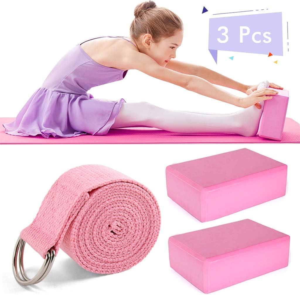 high density EVA foam meditation fitness block Amycute Set of 2 yoga blocks with 1 yoga strap pilates Pilates blocks for deepening poses for yoga yoga block stretching.
