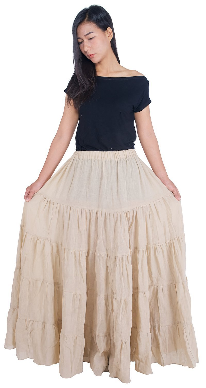 Lannaclothesdesign Women's Cotton Long Ruffle Full Circle Long Skirts Maxi Skirt (Lenght 37 inches, Beige)