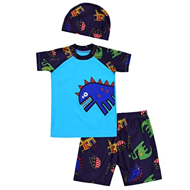 Boys Kids Children Swim Shirt Top Swimming T-shirt with UV protection Age 3-12