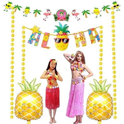 Amazon com: Jelacy Hawaiian Party Decorations Kit ,Pineapple
