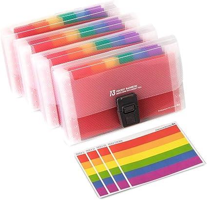 TOYMYTOY Cartella Portadocumenti A6 porta Documenti in Plastica con 13 Tasche Espandibili Portatile Accordion File Impermeabile Multicolore