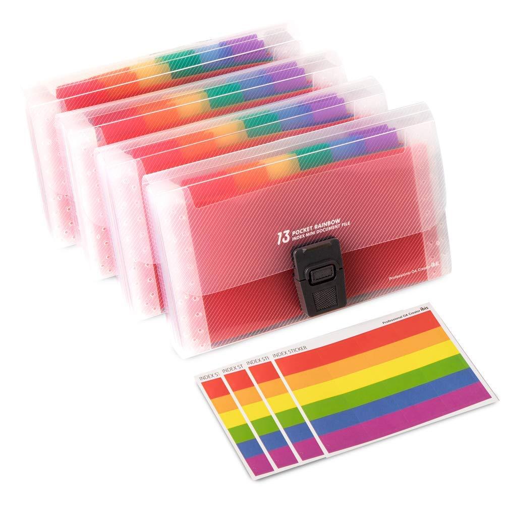 4 Pack Mini Document File A6 7.1 x 4.45 x 1.1 Inch Rainbow Expanding Folder 13 Pocket File Organizer 12 Labels Index