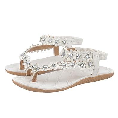 Sommer Sandalen,Resplend Frau Böhmen Blumen Perlen Flip Flop