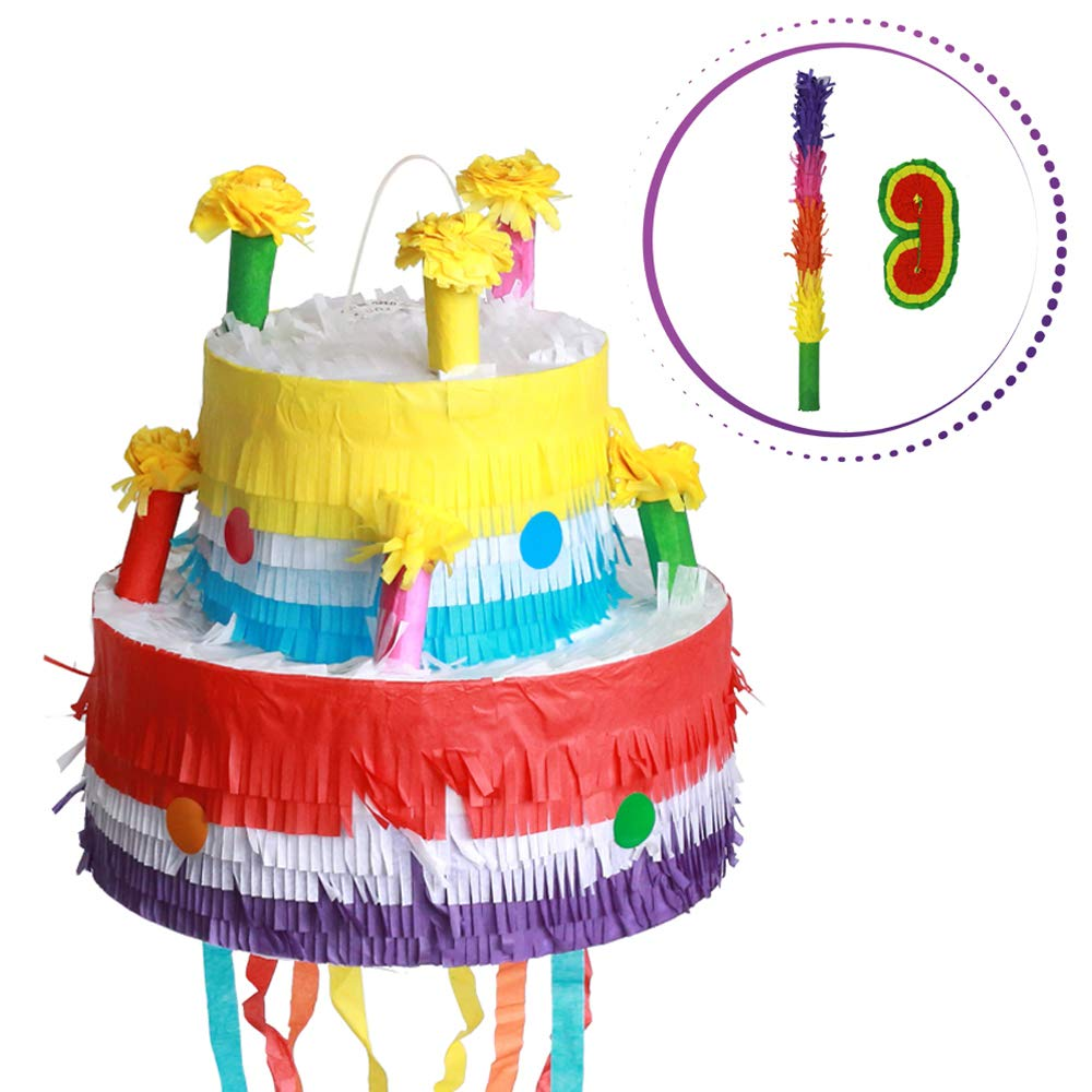Cake Pinata - Cartoon Shaped Pinatas Kids Birthday Party Supplies for Comic Themed Party with Eye Mask and Stick Sets