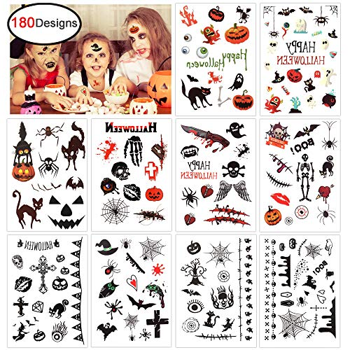 Konsait Halloween Temporary Tattoo for Kids (180 Designs), Children Party Tattoos for Boys Girls Halloween Trick or Treat Bags Party Bag Filler Toy - Vampire Pumpkin Bats Monster Witch Skull -
