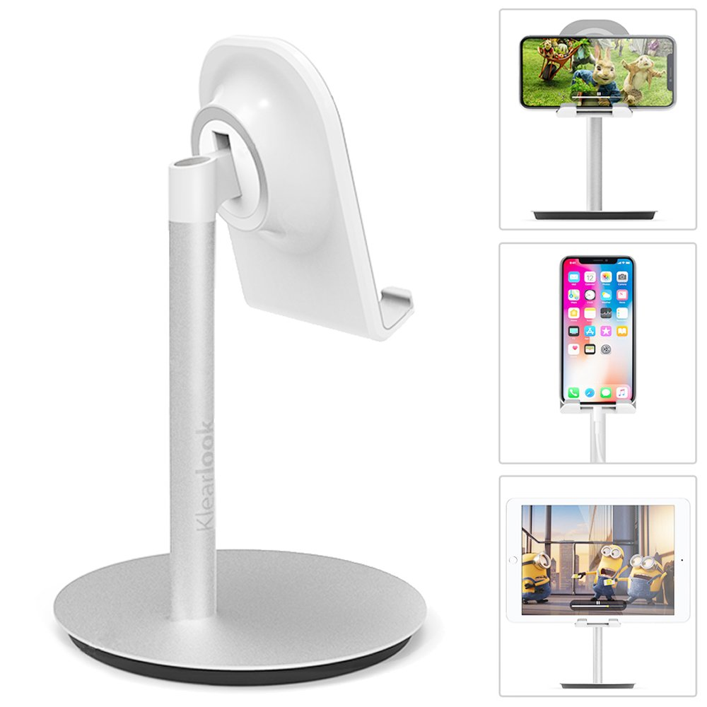 Phone Stand for Desk, Aluminum Adjustable Stand and Holder for iPhone Galaxy Phone, Cell Tablet Nintendo Switch iPad Cradle Mount Charging Dock Accessories Up to 10.5'' for Home Office Travel - Silver