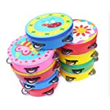 ULTNICE 10CM Baby Child Kid Handbell Clap Drum Tambourine Rattles Toy Musical Instrument Exercise Arm