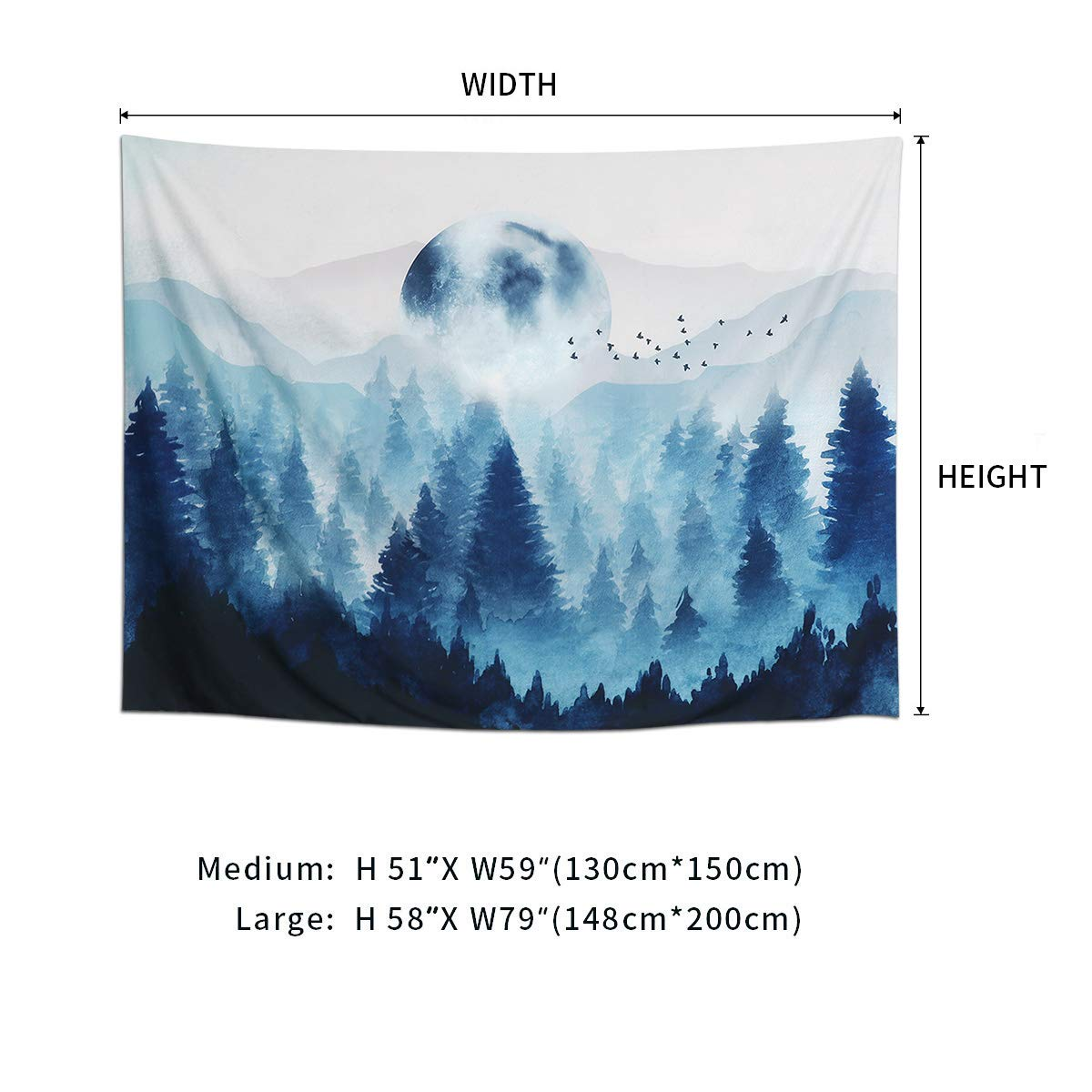 51X59 Blue, M//130X150cm Dremisland Sunset Wall Tapestry Forest Tree Tapestry Mountain Wall Hanging Psychedelic Nature Landscape Tapestry Home Decoration for Bedroom Living Room