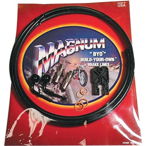 Magnum BYO Build-Your-Own DOT Single Disc Brake Line Kit with 6ft Brake Line - 90 Deg Banjo - Black 496790A by Magnum