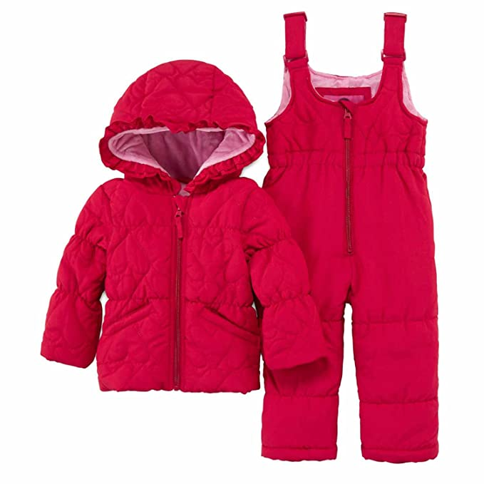 5bae653d6 Weatherproof Infant Girls Red Heart 2 PC Snow Bibs & Coat Set Snowsuit 24m