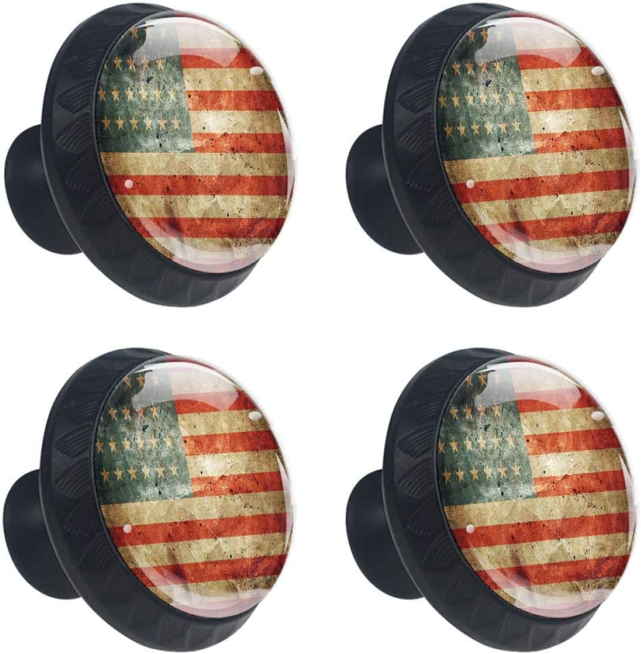 4 Pcs 35mm Vintage American Flag Cabinet Knobs Round Glass Drawer Handles Pull with Screws for Home, Office, Kitchen, Bathroom Cabinet, Dresser and Cupboard (1-3/8 Inches)