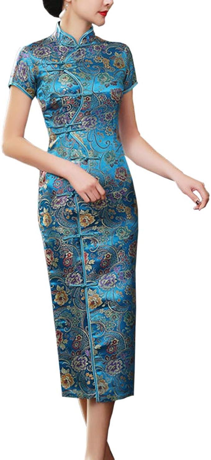 Damen Chinesisches Kleid Klassisch Kurzarm Floral Qipao Traditional  Cheongsam Midi Dress Partykleid Festkleider