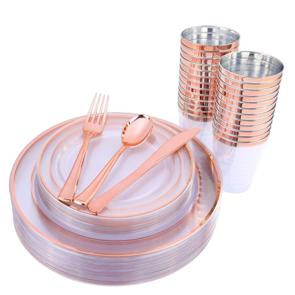 150 Pieces Rose Gold Cups & Plastic Plates & Disposable Silverware, Crystal Clear Dinnerware Set: 25 Dinner Plates 10.25 '', 25 Dessert Plates 7.5 '', 25 Tumblers 9 Oz , 25 Forks, 25 Knives, 25 Spoons