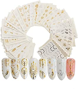 Nail Stickers for Women Nail Art Accessories Decals Fresh Nail Art Stickers Water Transfer Butterfly Leaf Flamingo Flower Nail Stickers for Fingernails Decor Manicure Decorations (Gold 30Pcs)