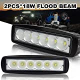 Safego 18W LED Flood Work Light Bar OffRoad Car 4X4 Fog Driving Lamp for Truck Tractor Jeep 12V 24V 60 Degree L18W-FL Pack of 2