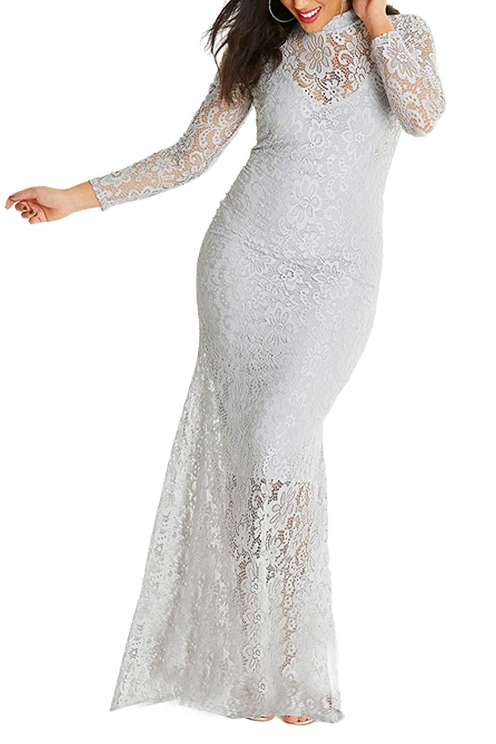 FUSENFENG Womens Lace Long Sleeve Plus Size Mermaid Wedding Evening ...