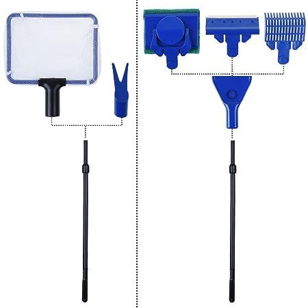 Petacc Juego de herramientas de limpieza 5 en 1 para acuario y pecera, con varilla retráctil, esponja de limpieza, red de cucharas, rascador de algas y ...