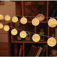 LED-Guirlandes Lumineuses,ELINKUME Blanc Chaud 20LEDs Lanternes Forme Série de Lampe 3.3M Long Belle Décoration D'intérieur éclairage Puissance de la Batterie Adapté aux Mariage, Fêtes, Cadeaux