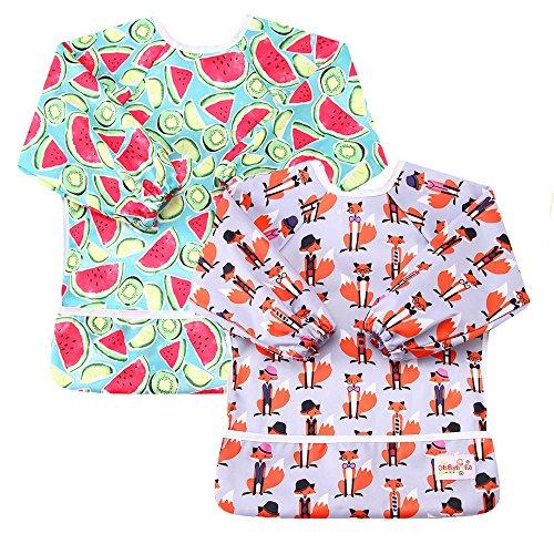 OHBABYKA Waterproof Baby Sleeves Bib,Bib with Sleeves&Pocket, 6-24 Months