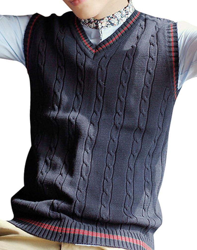 Yasong Men V Neck Sleeveless Plain Sweater Knitwear Vest Gilet