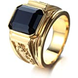 PMTIER Mens Stainless Steel Dragon Pattern Simple Square Gemstone Rings Band