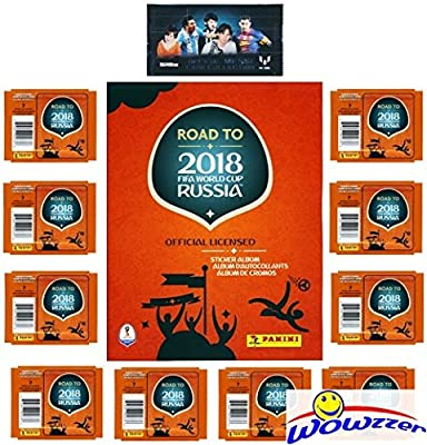 2018 Panini Road to FIFA World Cup Russia SPECIAL COLLECTORS PACKAGE with 80 Stickers, 64 Page Collectors Album & Bonus LIONEL MESSI Pack! Collect Stickers of the World's Biggest Soccer Stars! WOWZZER