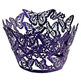 TOOGOO(R)20 pcs Original Design of Butterflies Cupcake Wrappers 15 Popular Colours UK seller(Purple)