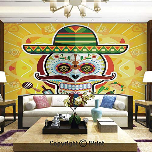 Lionpapa_mural Removable Wall Mural | Self-Adhesive Large Wallpaper,Mexican Sugar Skull with Tacos and Chili Pepper November 2nd Colorful Art,Home Decor - 100x144 inches