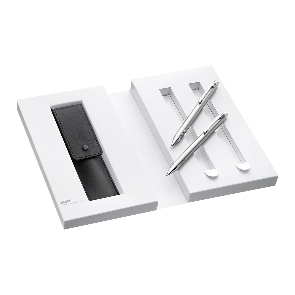 Lamy 1230494 - Set di penna e matita in custodia in ecopelle, confezione regalo, M Econ 240/140, argento Lamy GmbH