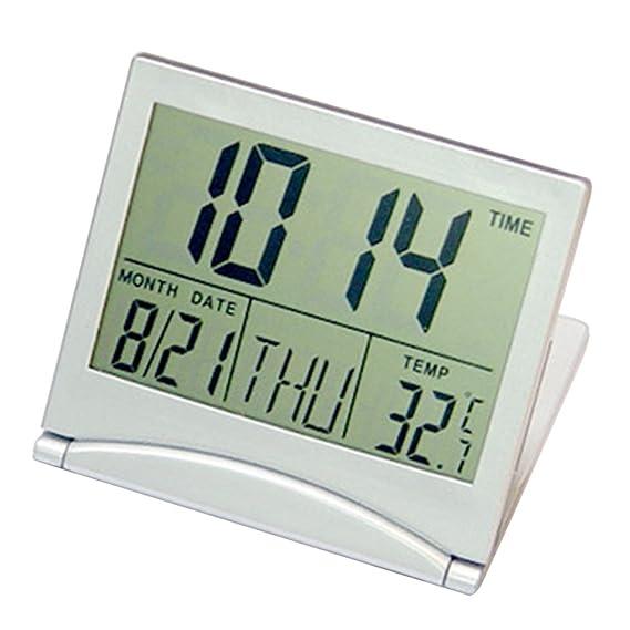 Amazon.com: Kangkang@ Portable Travel Folding Thin LCD Display Electronic Digital Desk Table Alarm Clock reloj despertador wekker Calendar Thermometer ...