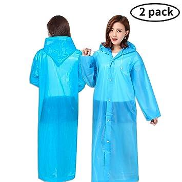 97228b0371eb9a Guzack Regenponcho, 2 Stück Wasserdicht Eva Regenjacke Regenjas Regenmantel  Regen Poncho Regencape Regenbekleidung Tragbarer für