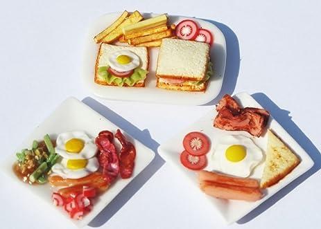 mixed 3 breakfast sets dollhouse miniature food barbie food setsbarbie collectibles - Barbie Cuisine