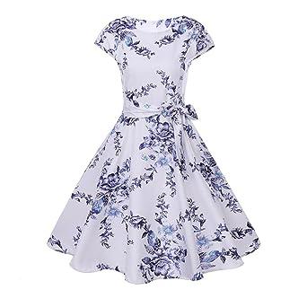 b8da05f8e4b3ca Neun Vintage Kleid, Yesmile Vintage 50er Blumen Swing Party Kleider  Damen Cap Sleeves