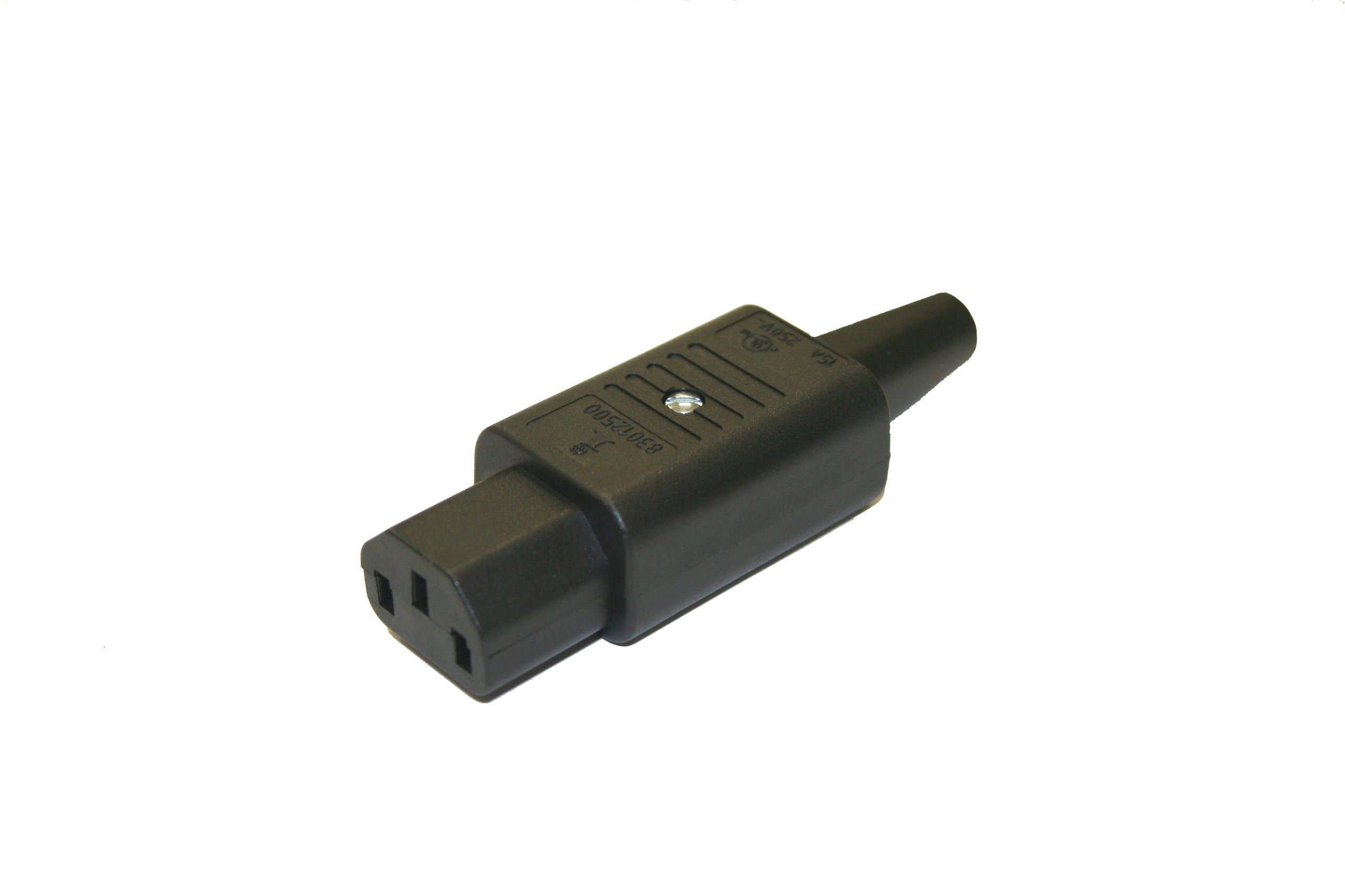 Interpower 83012500 IEC 60320 C13 Rewireable Connector, IEC 60320 C13 Socket Type, Black, 10A/15A Rating, 250VAC Rating
