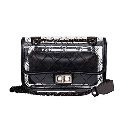 Donalworld Girl Clear Bag Small Flap Quilted Chain Strap Crossbody