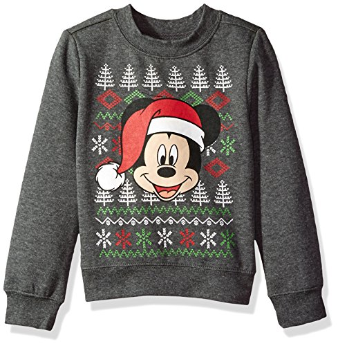 Boys Long Toddler Sleeved Disney - Disney Toddler Boys Mickey Christmas Long-Sleeved Crew Sweatshirt, Heather Grey, 3T