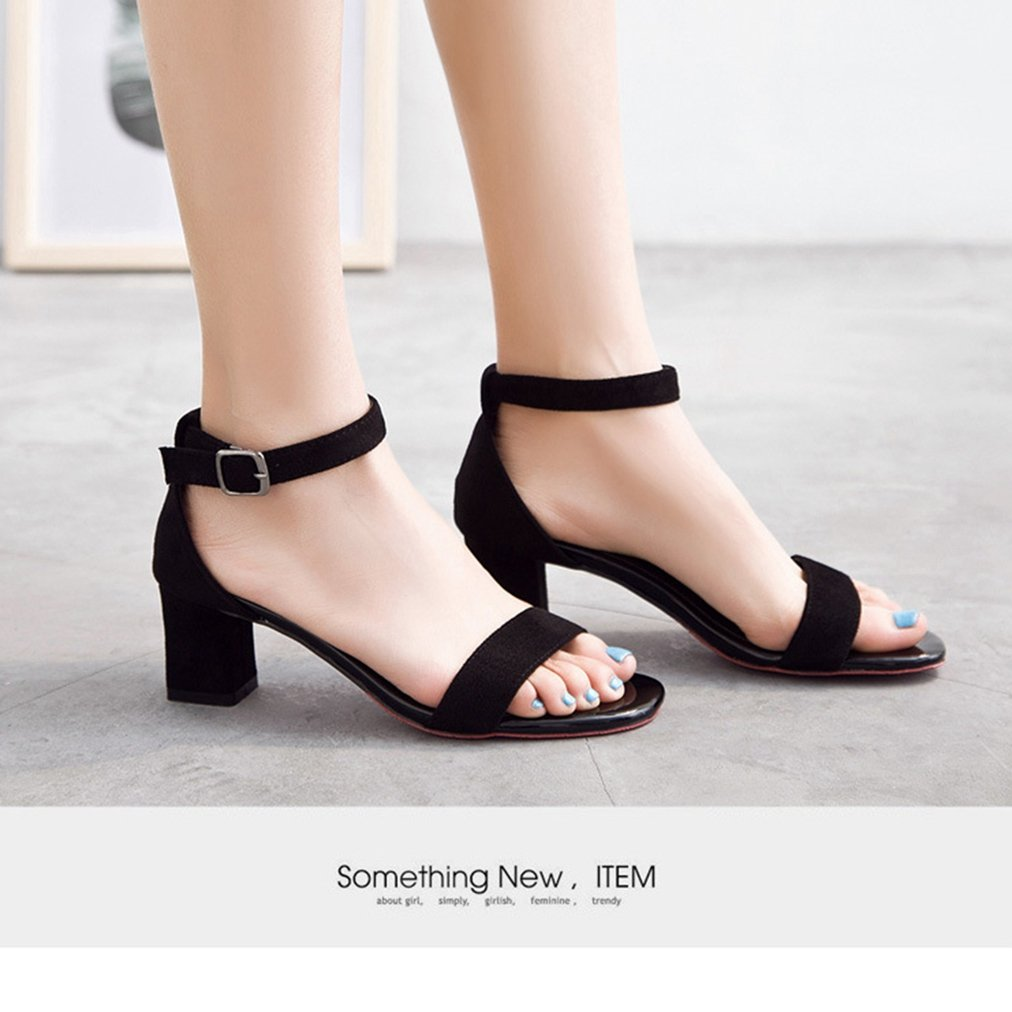 T-JULY Womens Ladies Fashion Chunky Heel Sandals Peep Toe Pumps with Buckle Ankle Strap Comfy Dress Evening Slippers Black