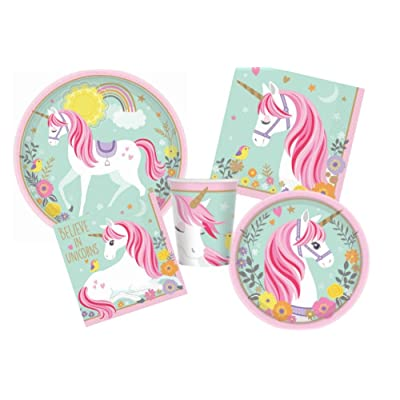 Magical Unicorn Birthday Party Supplies Pack for 16 Guests - Bundle Includes Dinner Plates, Dessert Plates, Lunch Napkins, Beverage Napkins, and Cups: Toys & Games [5Bkhe0300840]