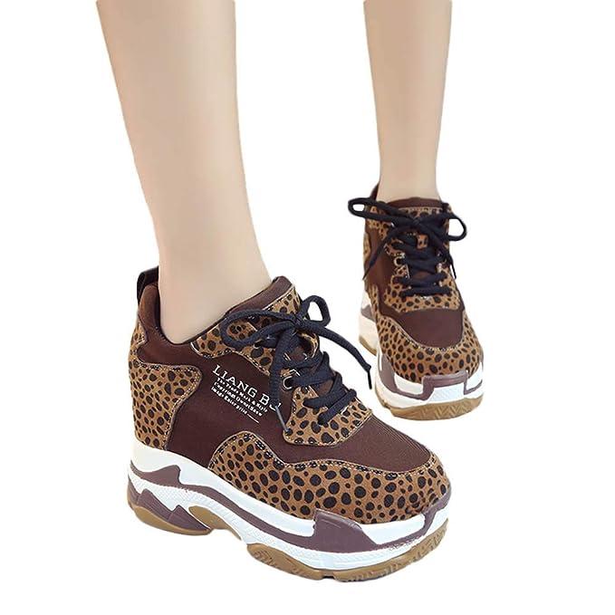 Zapato Deporte Mujer Con Cordones De Cuña Interior Con Plataforma Zapatillas De Suela Gruesa Con Estampado De Leopardo Transpirable Sneaker Aire Libre ...