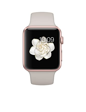 brand new e9f2a 37268 Apple Watch Sport 42mm Rose Gold Aluminum Case With Stone Sport Band ...