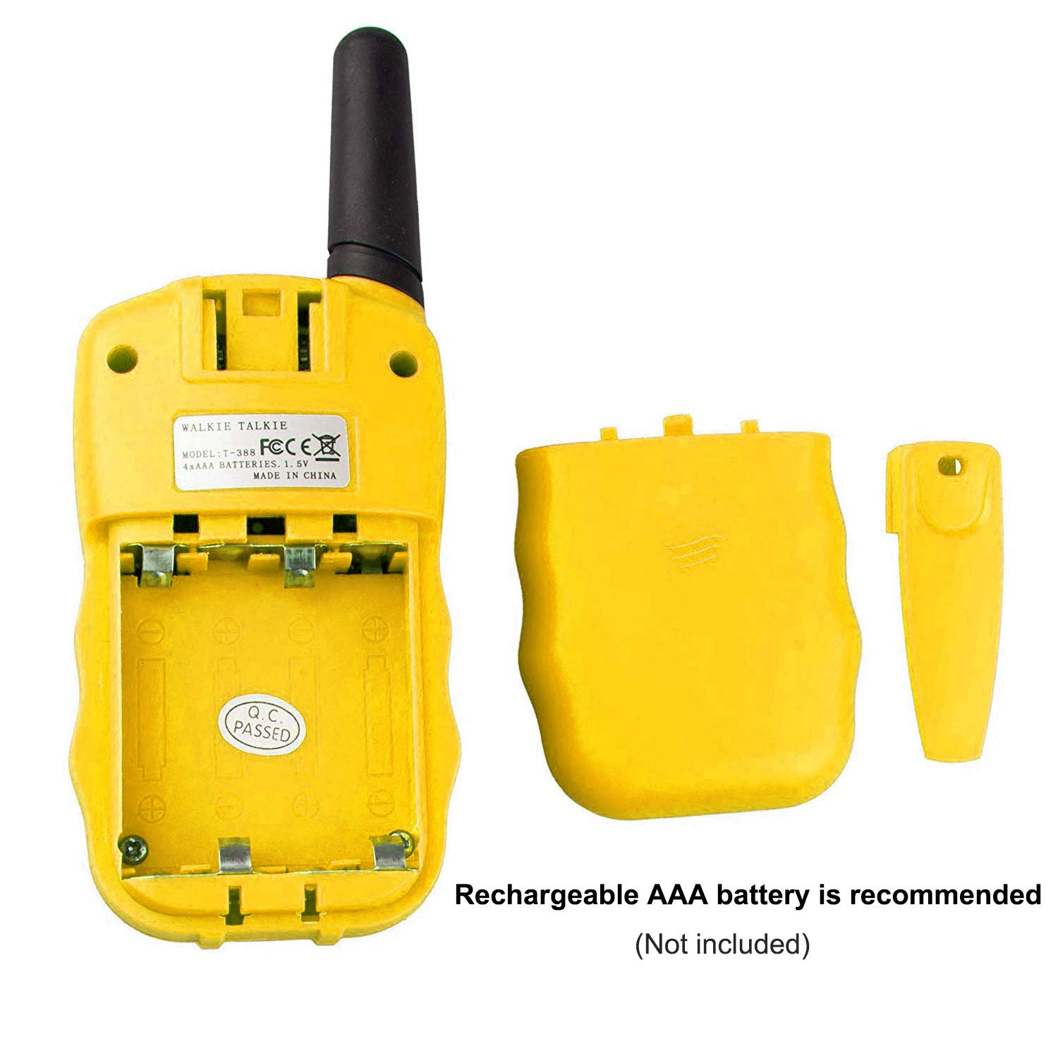 Qianghong T3 Kids Walkie Talkies 3-12 Year Old Children's Outdoor Toys Mini Two Way Radios UHF 462-467 MHz Frequency 22 Channels -1 Pair Yellow by Qianghong (Image #5)
