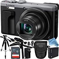 Panasonic Lumix DMC-ZS60 Digital Camera (Silver) 16GB Bundle 10PC Accessory Kit Includes SanDisk 16GB Extreme SDHC Memory Card + Replacement DMW-BLG10 Battery + AC/DC Rapid Charger + DIGITALANDMORE