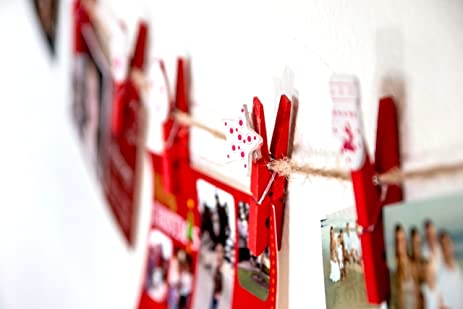 Amazon christmas greeting card holder hanging organizer with christmas greeting card holder hanging organizer with 12 photo display clips red with white m4hsunfo
