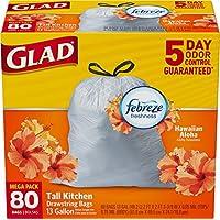Glad OdorShield Tall Kitchen Drawstring Trash Bags, Hawaiian Aloha, 13 Gallon, 80 Count (Packaging May Vary)