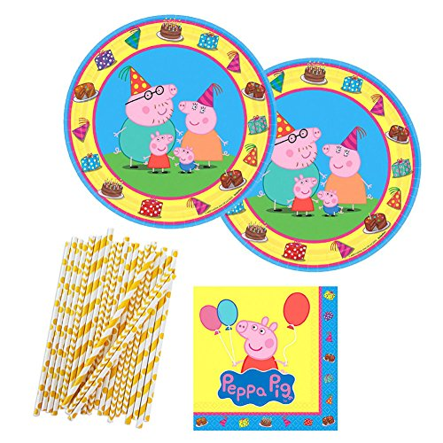 Peppa Pig Party Supplies Pack for 16 Guests Includes: Dessert Plates, Beverage Napkins, and Straws