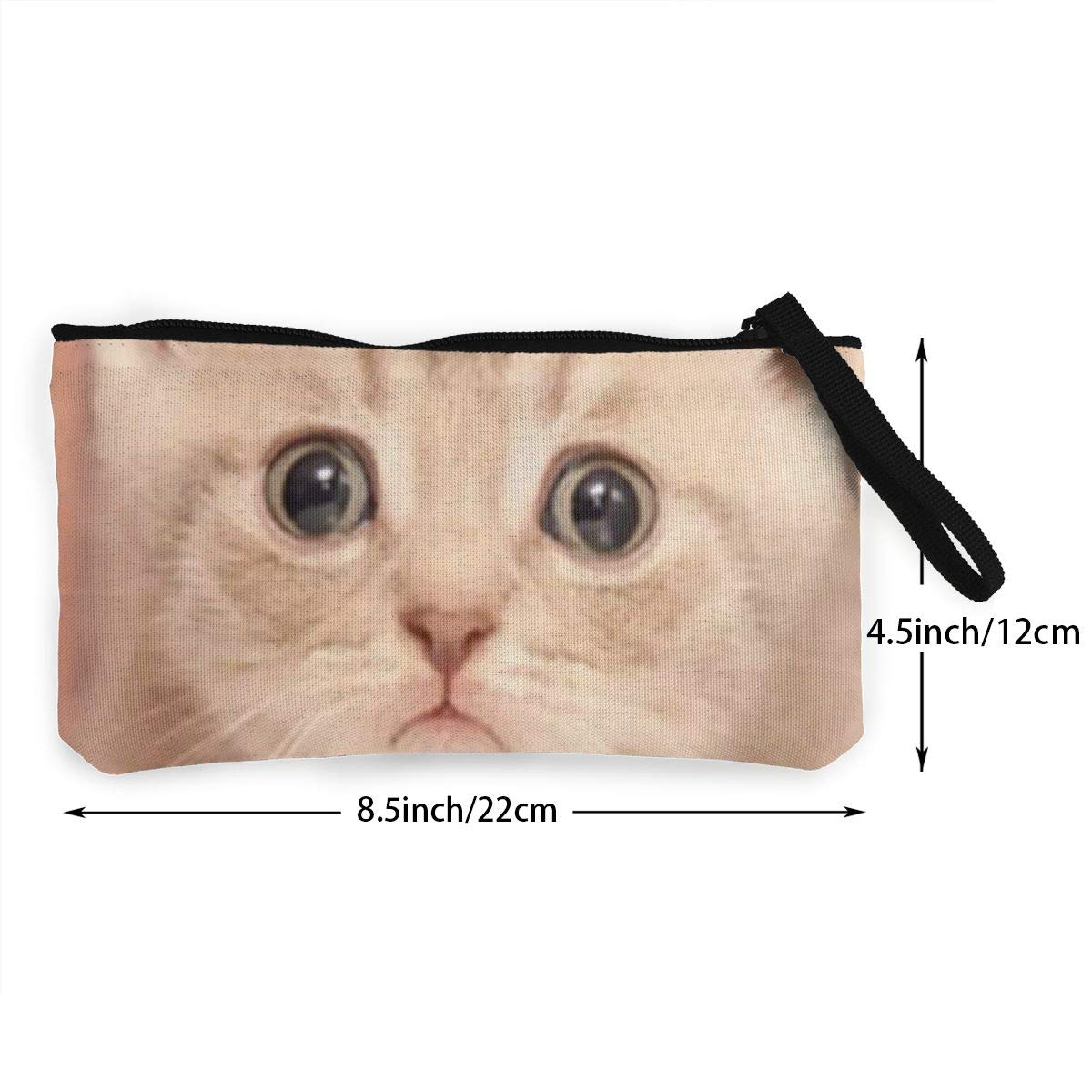 YUANSHAN Lovely Cat Unisex Canvas Coin Purse Change Cash Bag Zipper Small Purse Wallets with Handle