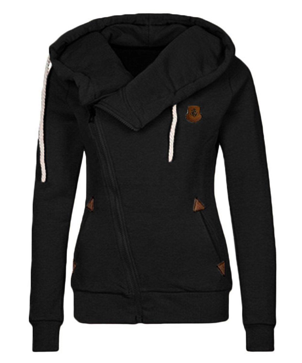 Lofan Women's Fleece Lined Hoodie Casual Oblique Zipper High Neck Hooded Jacket, Black, Tag 2XL=US XL