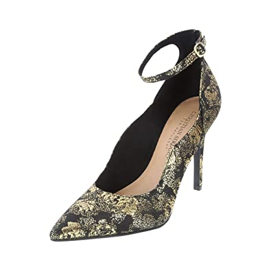 e3f04d1ecc Christian Siriano for Payless Black Gold Fabric Women's Kenni Ankle Strap  Heel 5 Regular