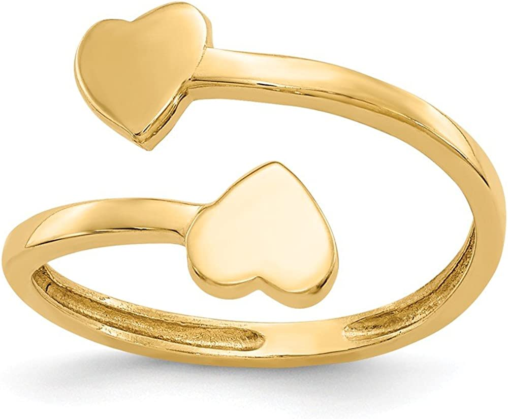 14K Yellow Gold Double Heart Toe Ring Solid 1 mm Toe Rings Jewelry